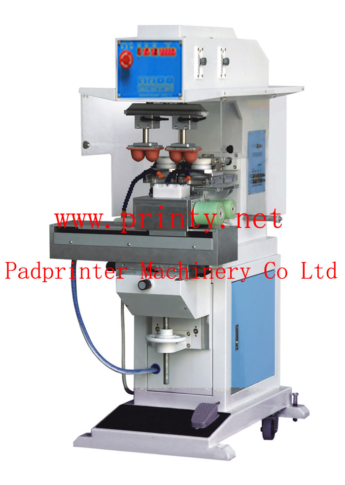 2 color shuttle pad printer machine with auto pad cleaning function,Pneumatic ink tray ink cup pad printing machine equipment with automatic cleaning system