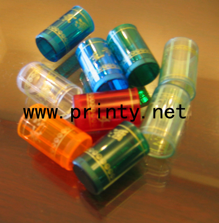 Canisters hot stamping samples by fully auto cosmetic bottle cap top hot press machine