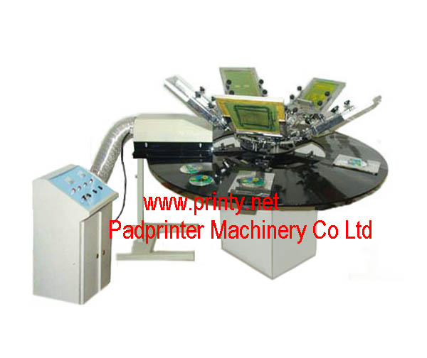 CD DVD Screen Printing Machine | Rotary CD DVD Screen Printer Machine | Manual 1~5 Color Screen Printing Equipment