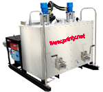 Hydraulic vehicle-carried double tanks hot melt line making machine